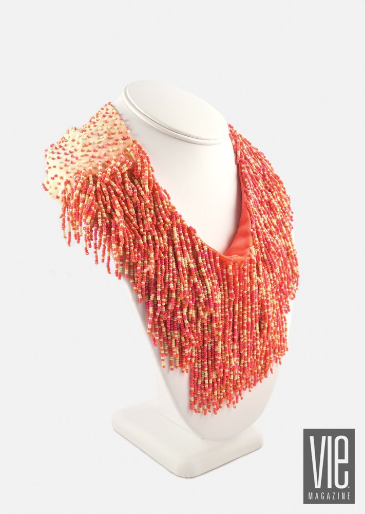 pink beaded scarf necklace