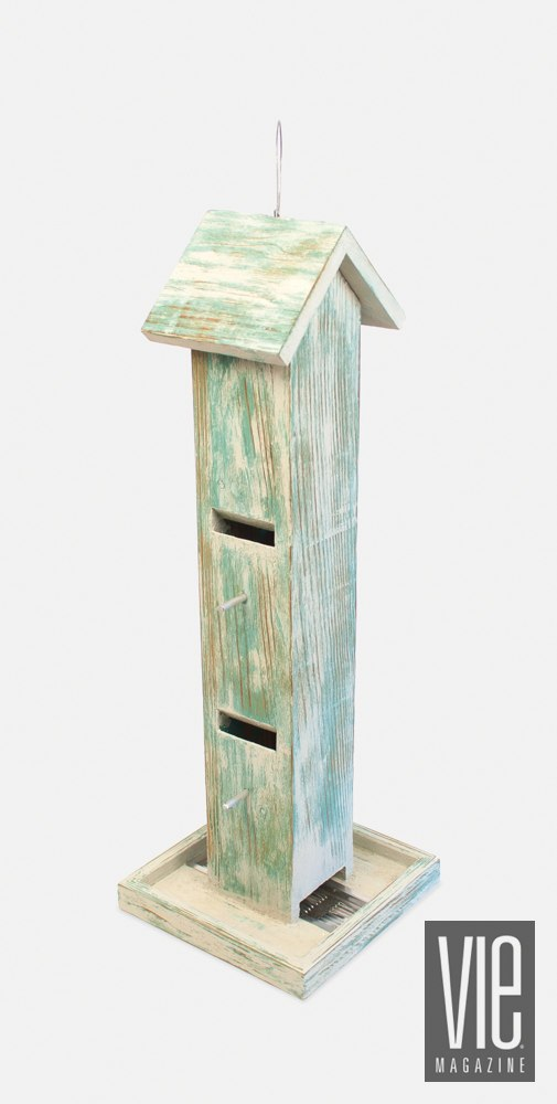 Chirpwood Combination Slot Tube/Platform Bird Feeder in Weathered Green Plank