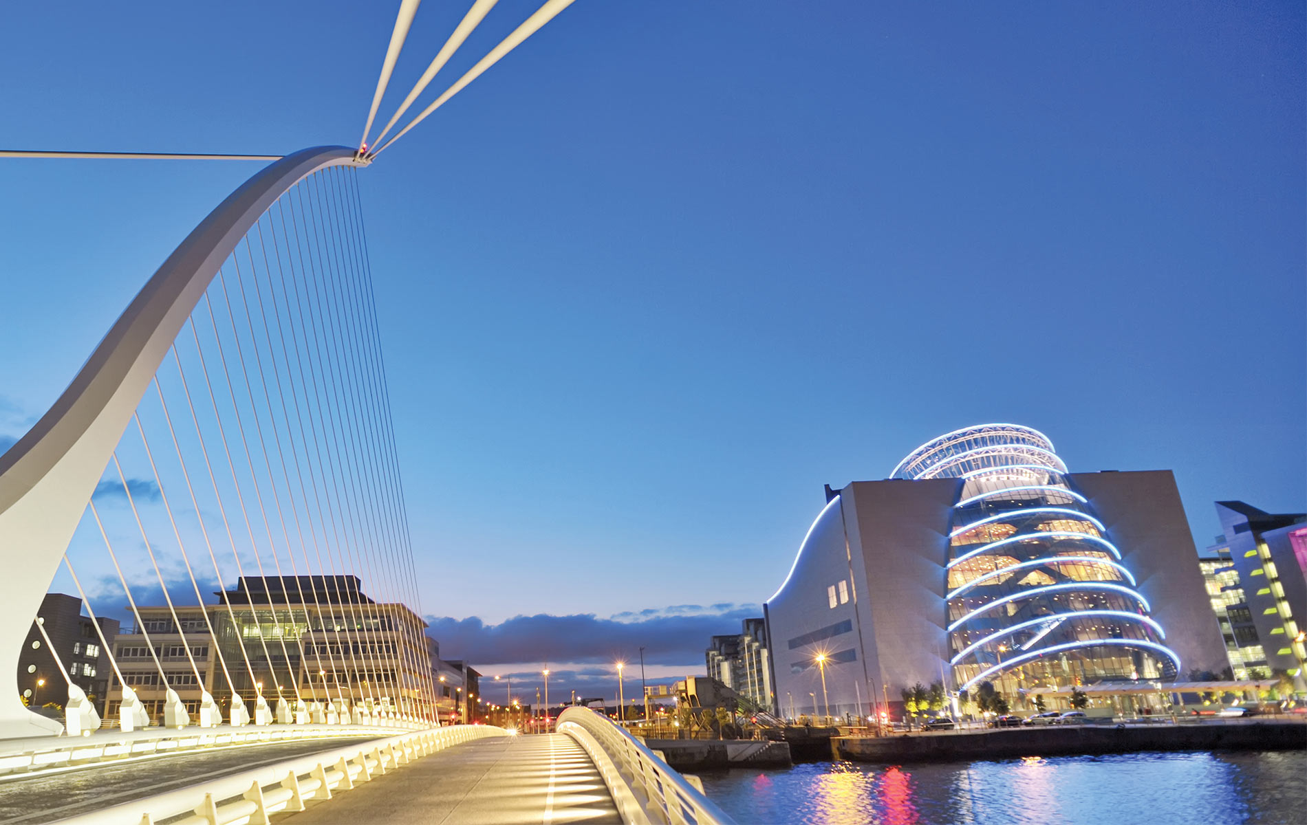 Sunset over Samuel Beckett Bridge and Convention Centre Dublin