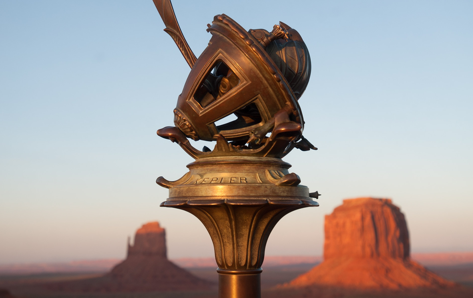 Telescope with canyon in the background