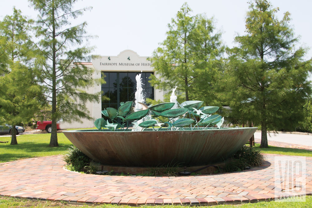Fairhope Museum of History outside fountain