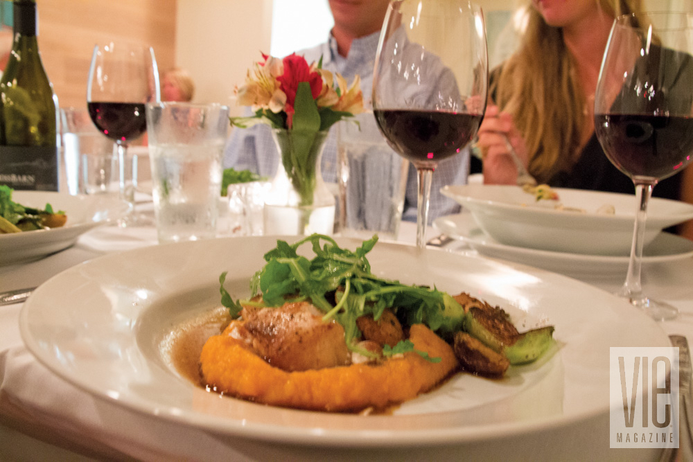 Grilled triggerfish roasted vegetables with wine at Camellia Cafe in Fairhope, Alabama