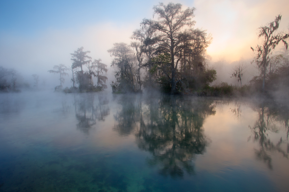 Haze over the lake with trees