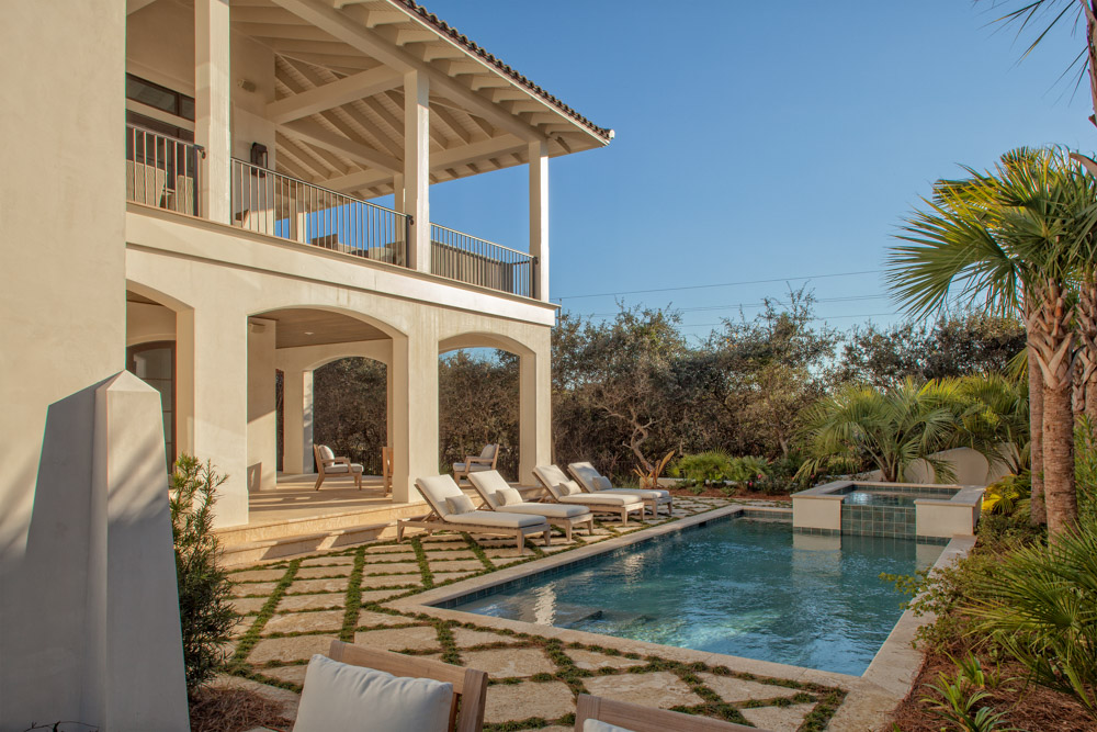 Pool and covered balcony of home