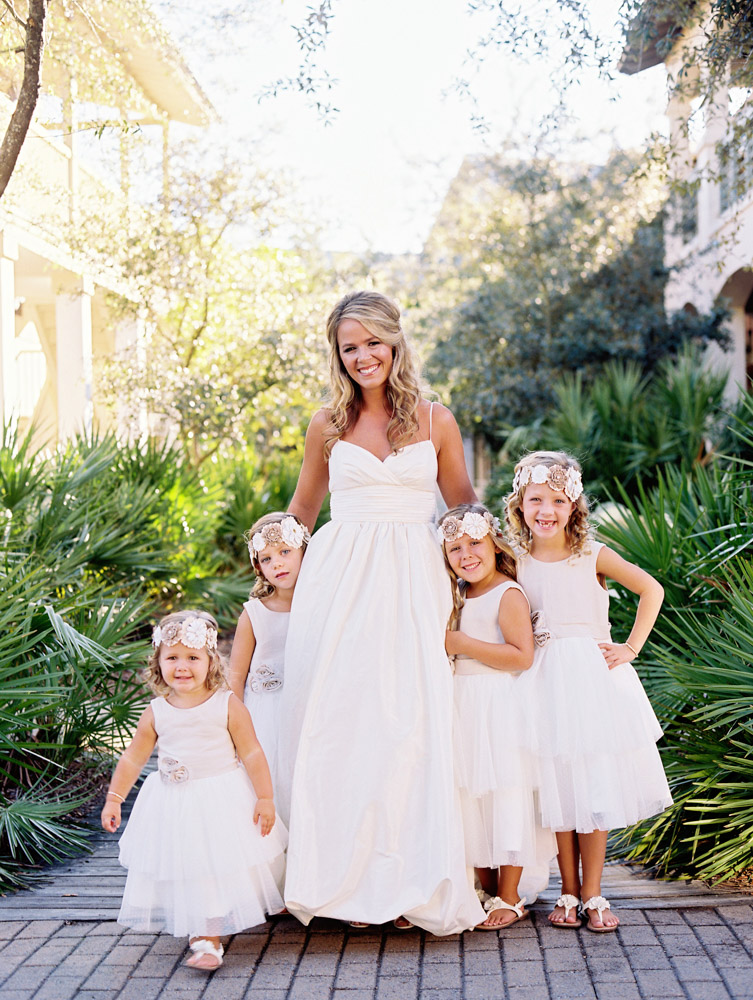 Bride, Jennifer Goff, with her flower girls