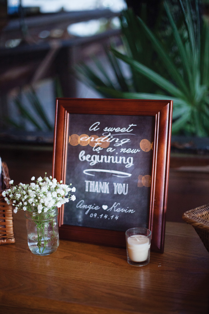 Chalkboard sign with flowers