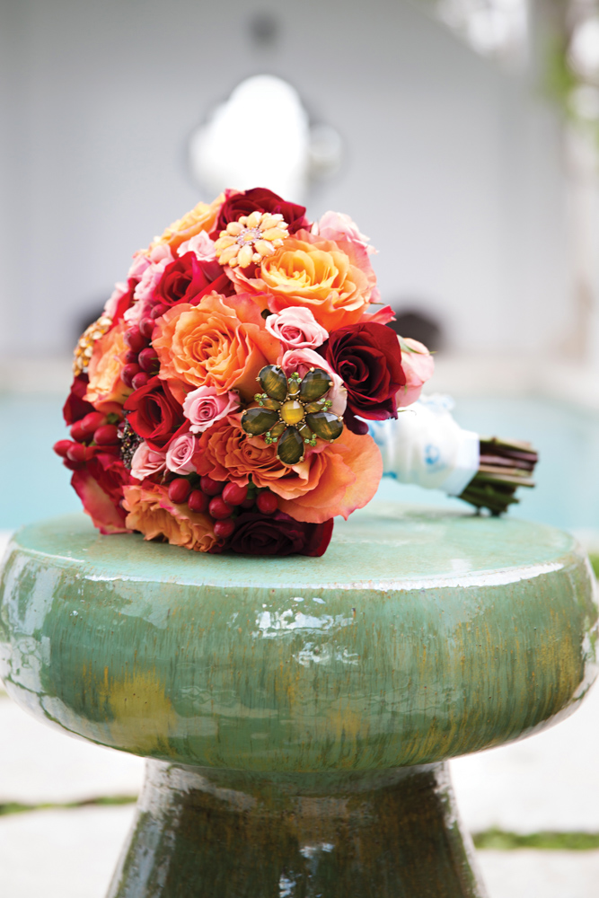 Colorful wedding bouquet of flowers