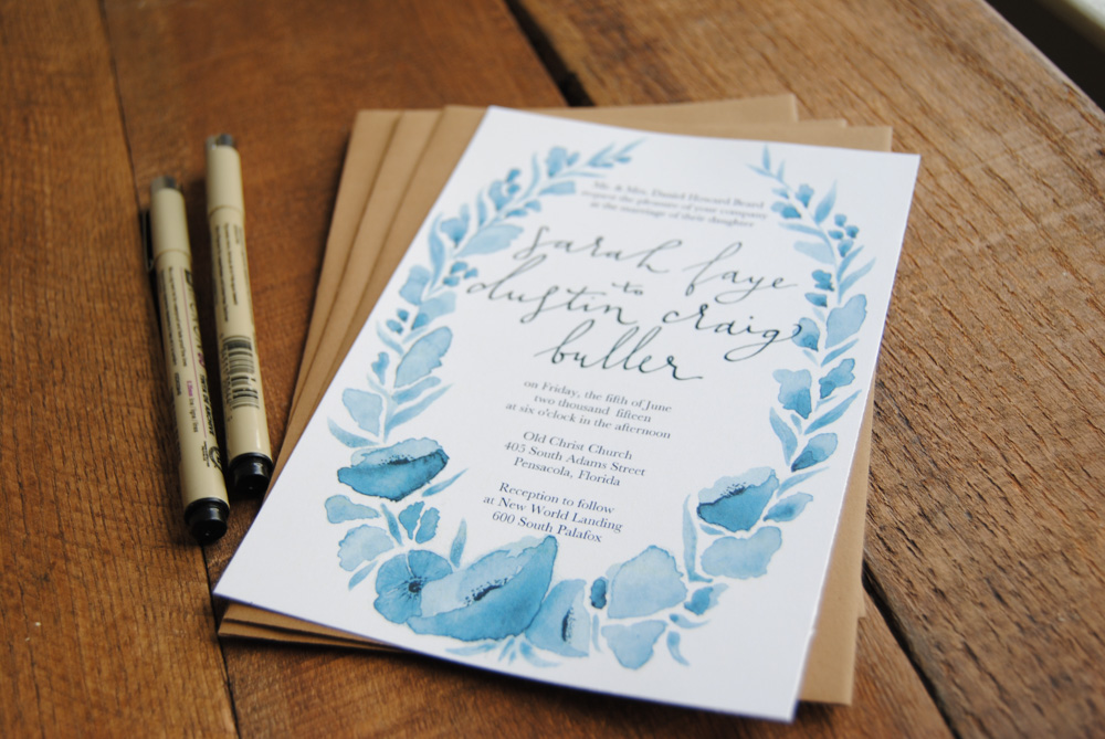 Studio Senn custom watercolor wedding invitations