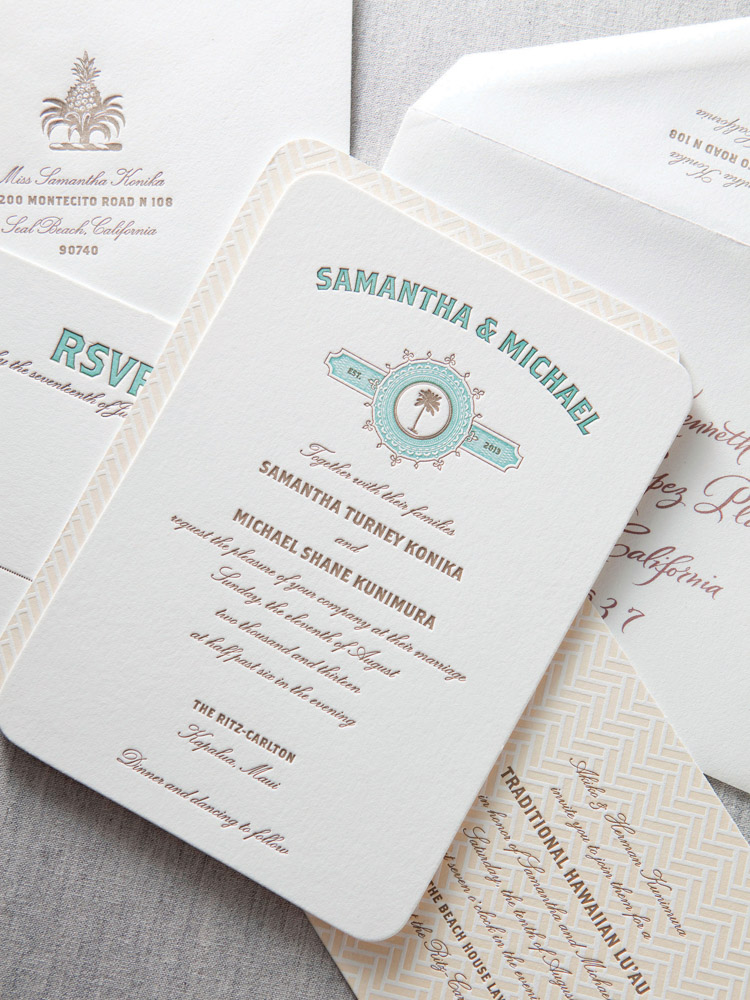 Dauphine Press custom letterpress wedding invitations