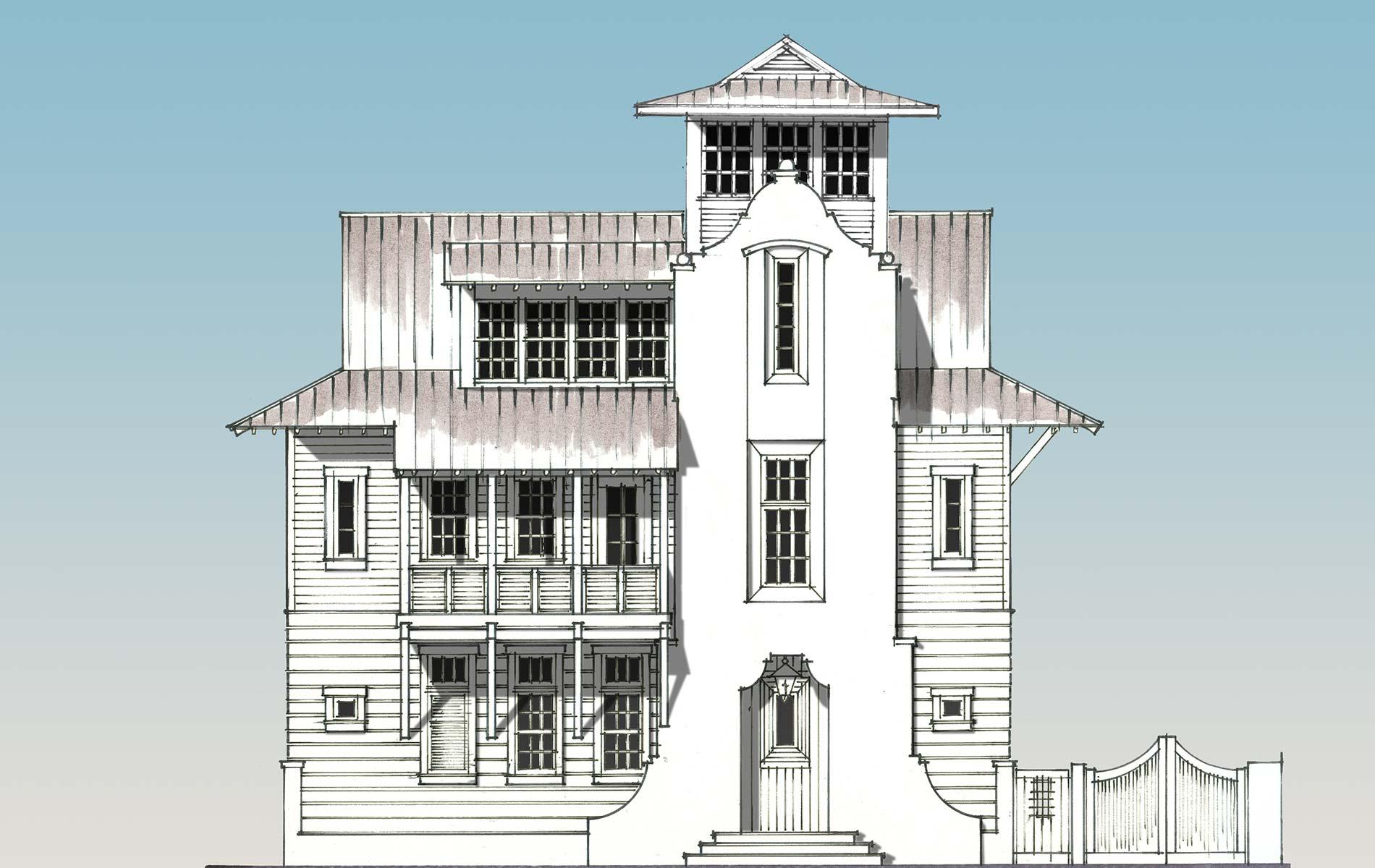 Sketching of custom Rosemary beach home