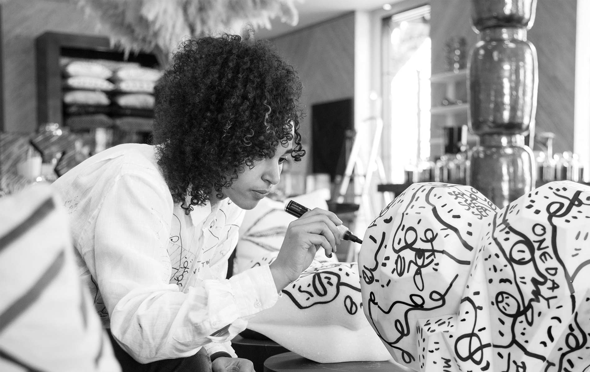 Shantell Martin works on project in Los Angeles