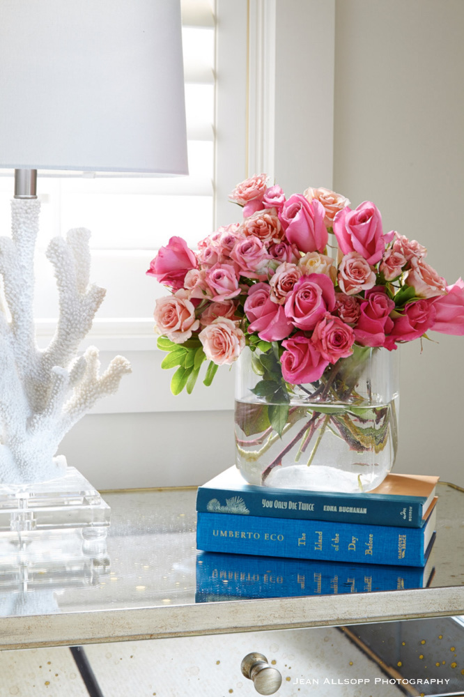 Pink flowers and white coral lamp