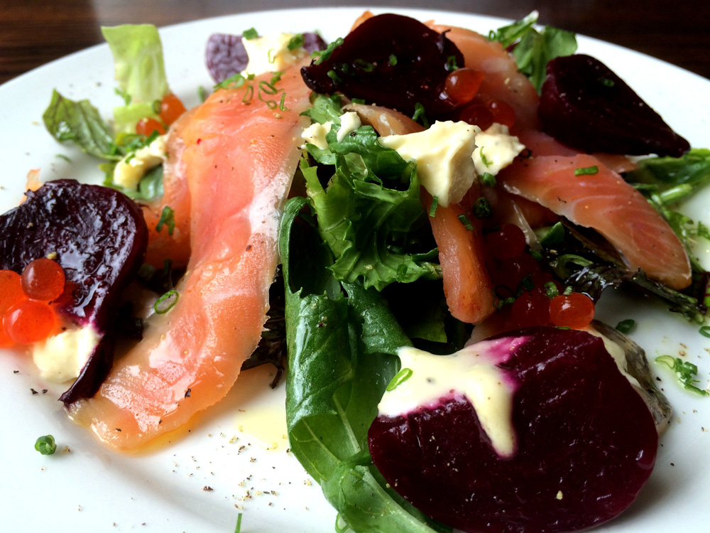 Salmon beet salad at Scotia in Dunedin, New Zealand