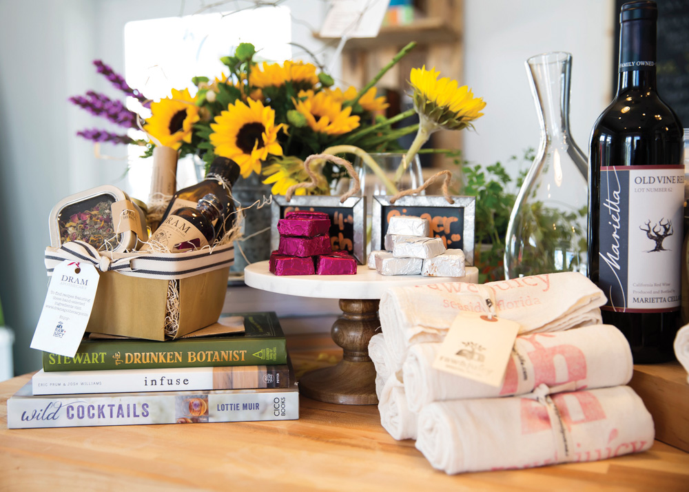 Sunflowers cookbooks and towels