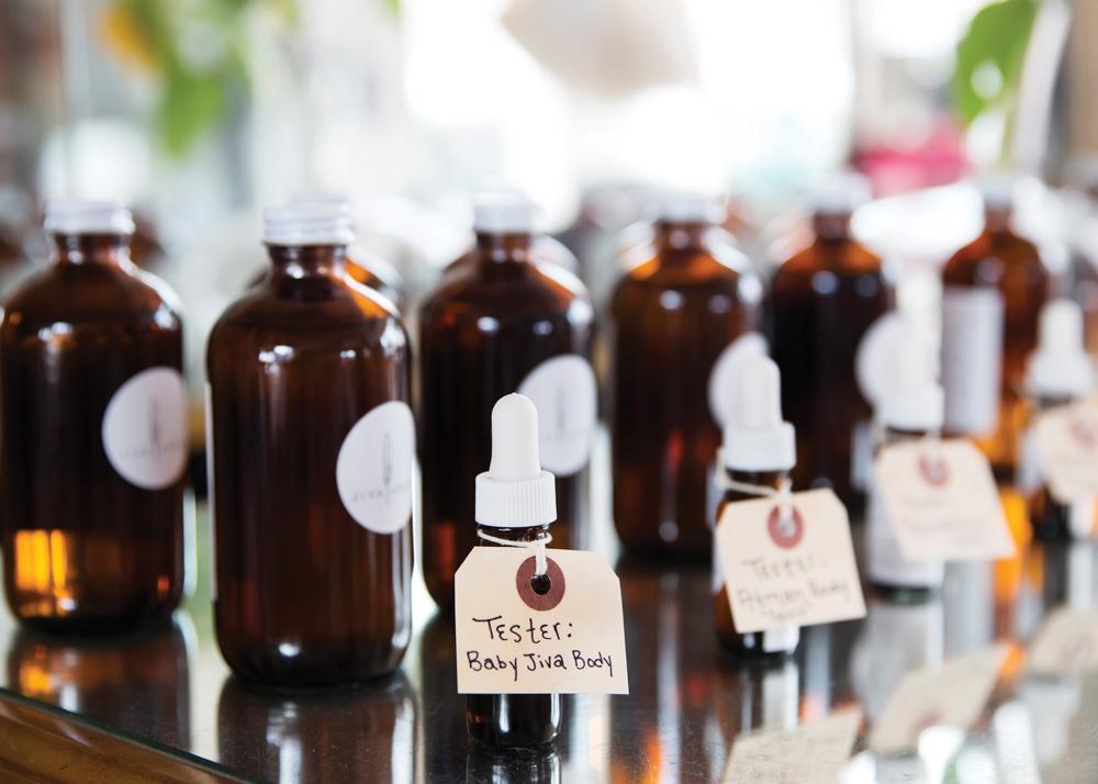 Jars of body oil