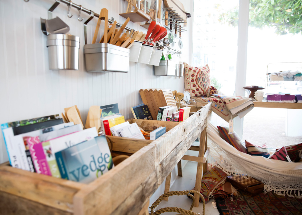 Books in wood baskets