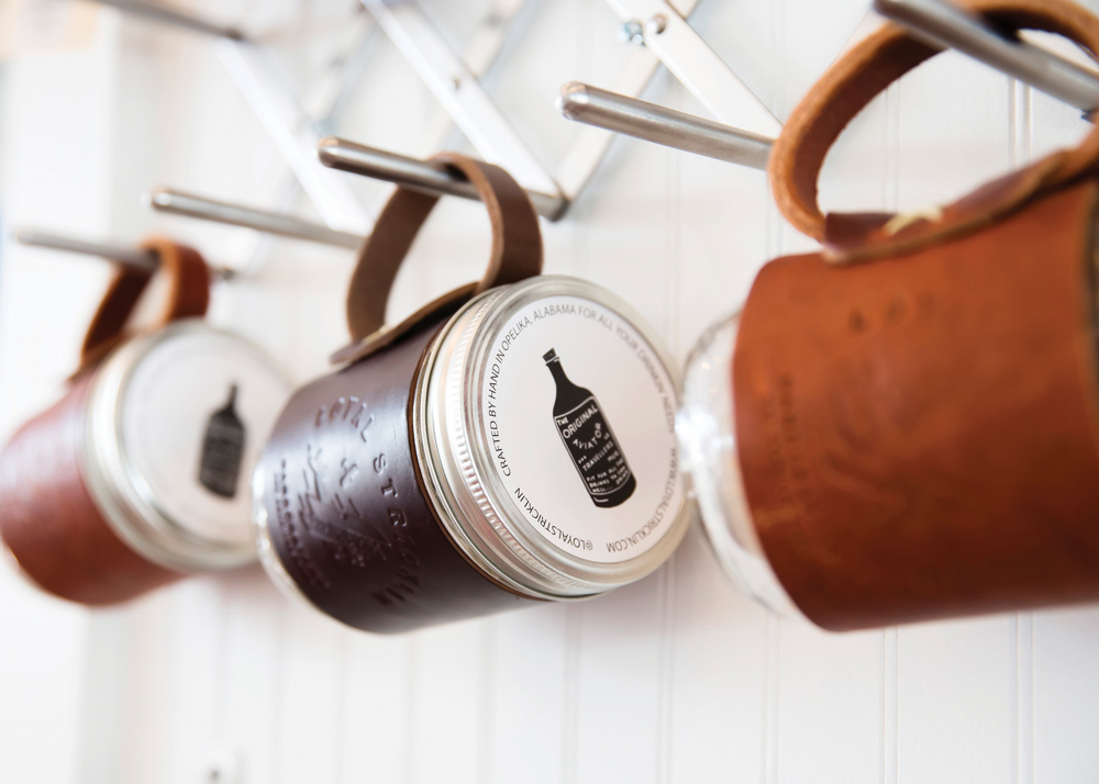 Mason jars with leather handles