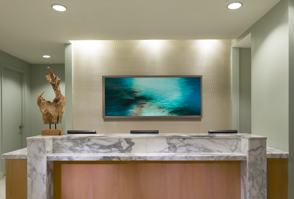 Front desk with marble counter