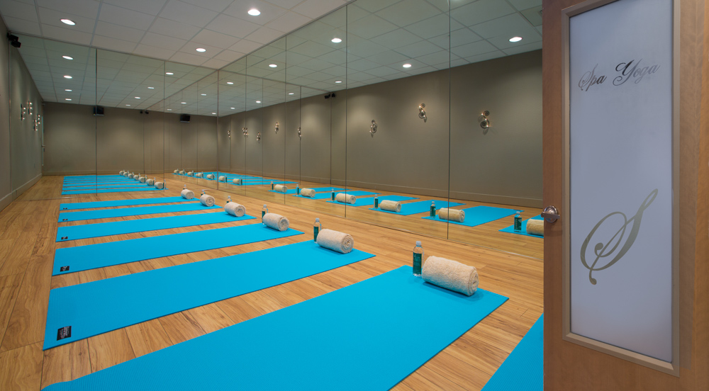 Yoga mats in room