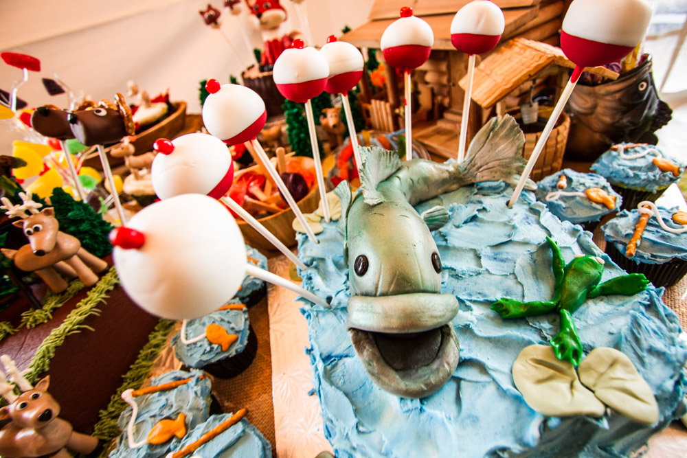 Fishing themed cake pops