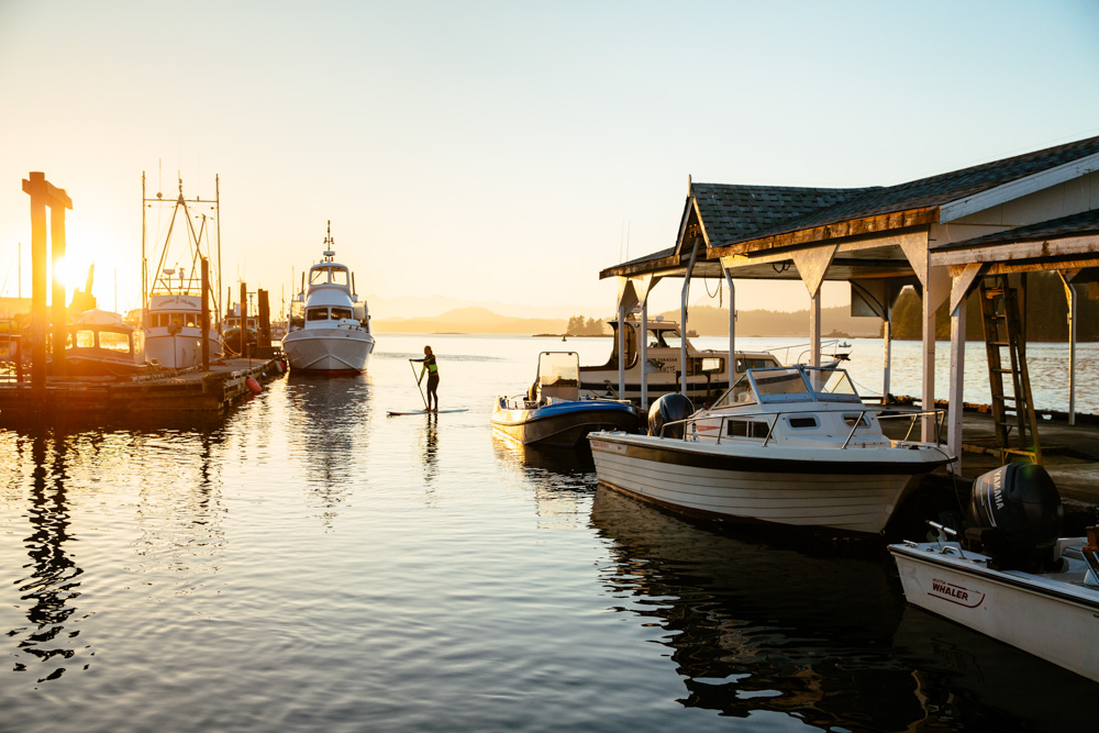 Boat docked at sunset in Vancouver Island, Canada