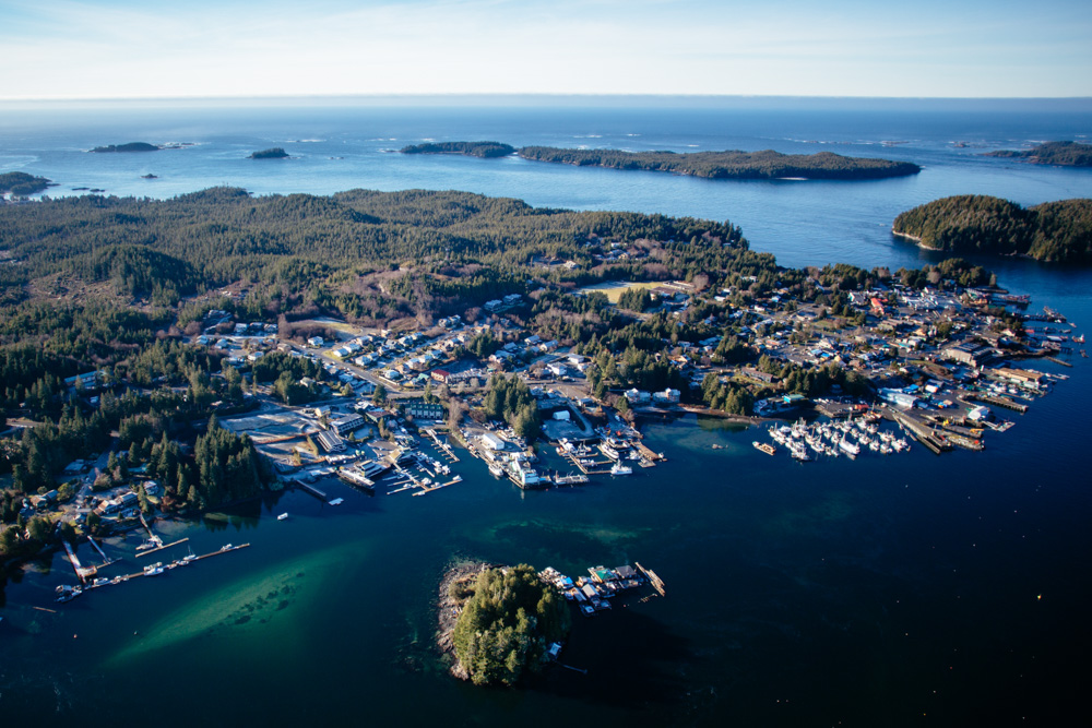 Aerial view of waterfront town in Vancouver Island, Canada