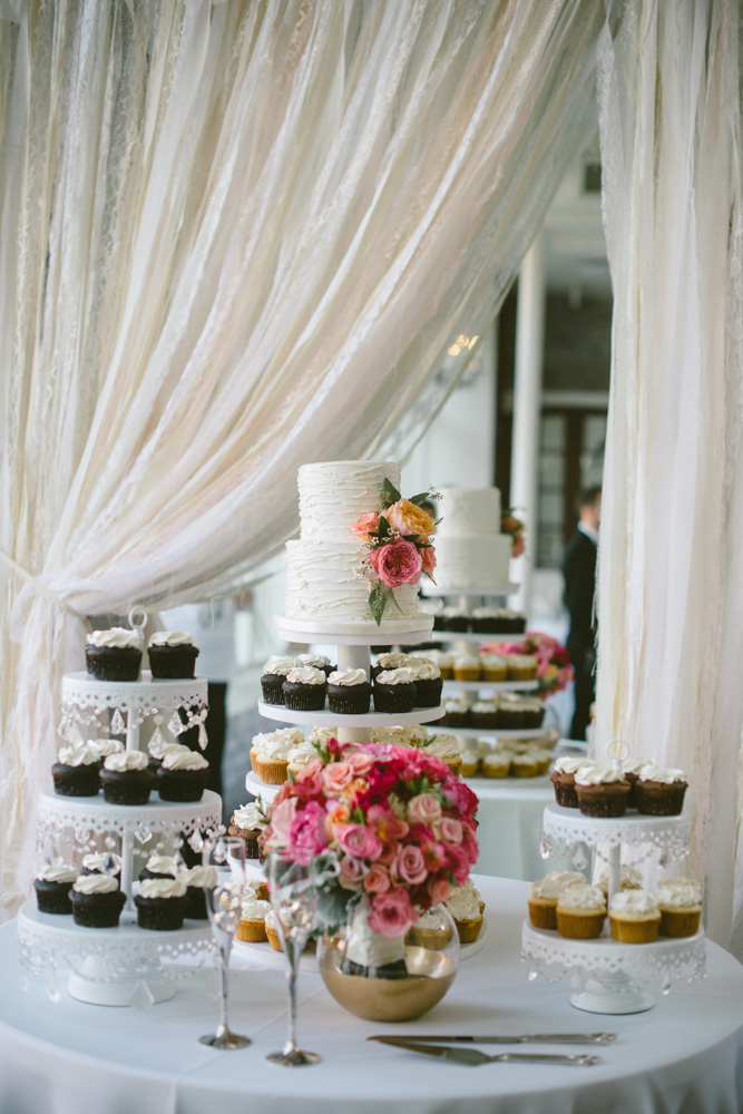 Wedding Event Specialists wedding cake and cupcake dessert table
