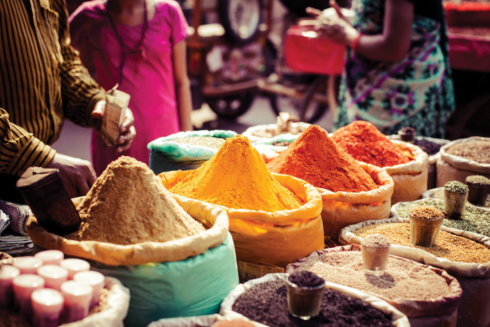 Dyes and spices for sale in Morocco