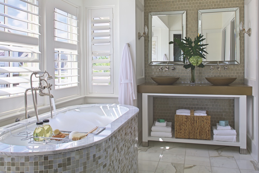 Bathroom and tub of Legacy Home designed by New York Architect John Kirk, residing in WaterSound Beach, Florida VIE Magazine