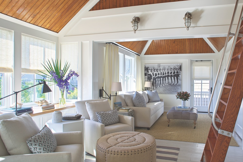 Den of Legacy Home designed by New York Architect John Kirk, residing in WaterSound Beach, Florida VIE Magazine