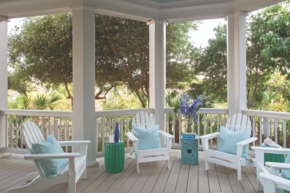 Outdoor porch of Legacy Home designed by New York Architect John Kirk, residing in WaterSound Beach, Florida VIE Magazine