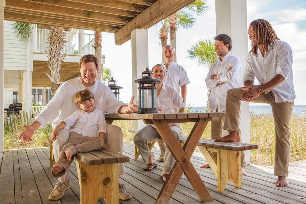 Groomsmen and groom relaxing before Mexico Beach wedding photo shoot, photos by Romona Robbins