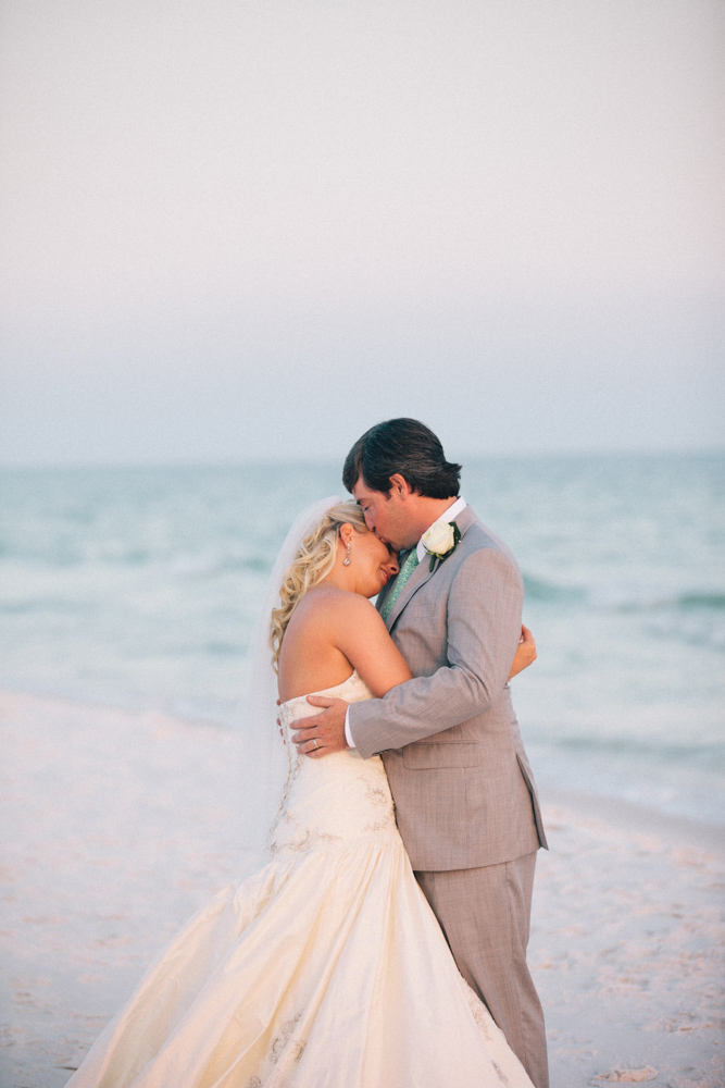 Bride and groom at Kimberly and Clain Zimmerman beach wedding