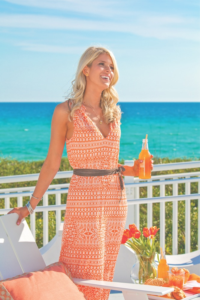 This striking tangerine summer dress pops against Gulf-front views at Alys Beach: Cicero Tribal Chic dress from Velvet, $174, Perspicasity.