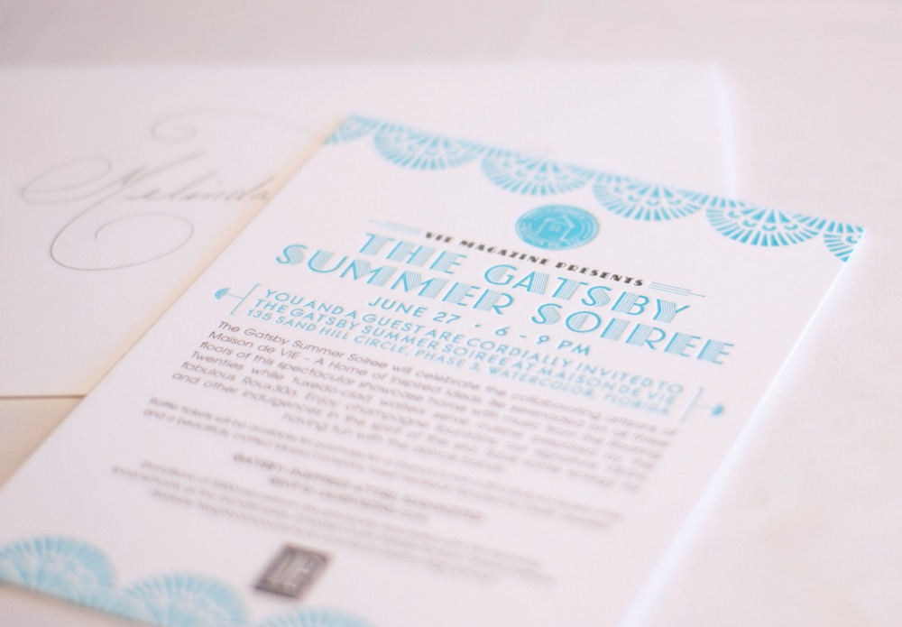 VIE Magazine Maison de Vie home, The Great Gatsby inspired Summer Soirée invitation