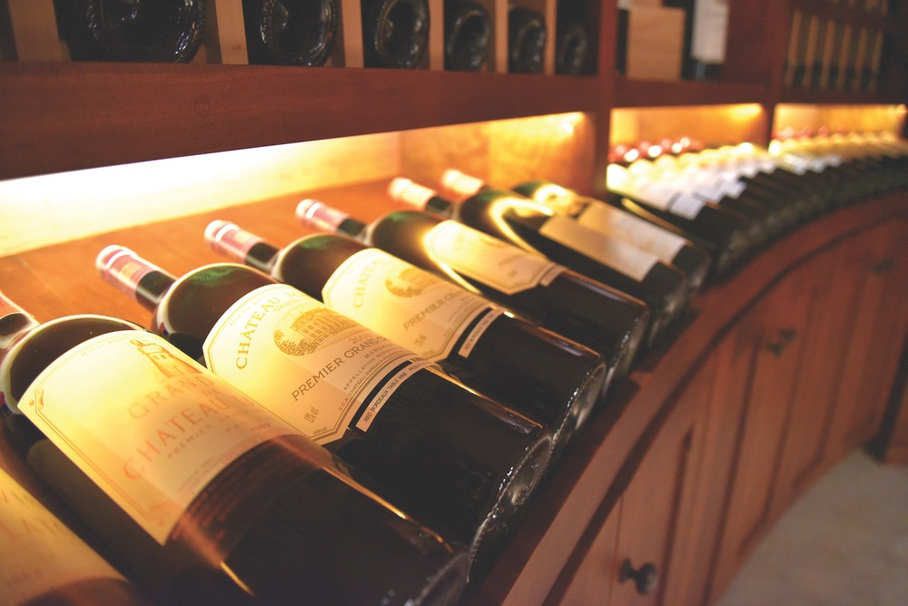 Selection of wine in cave at BRAND Napa Valley