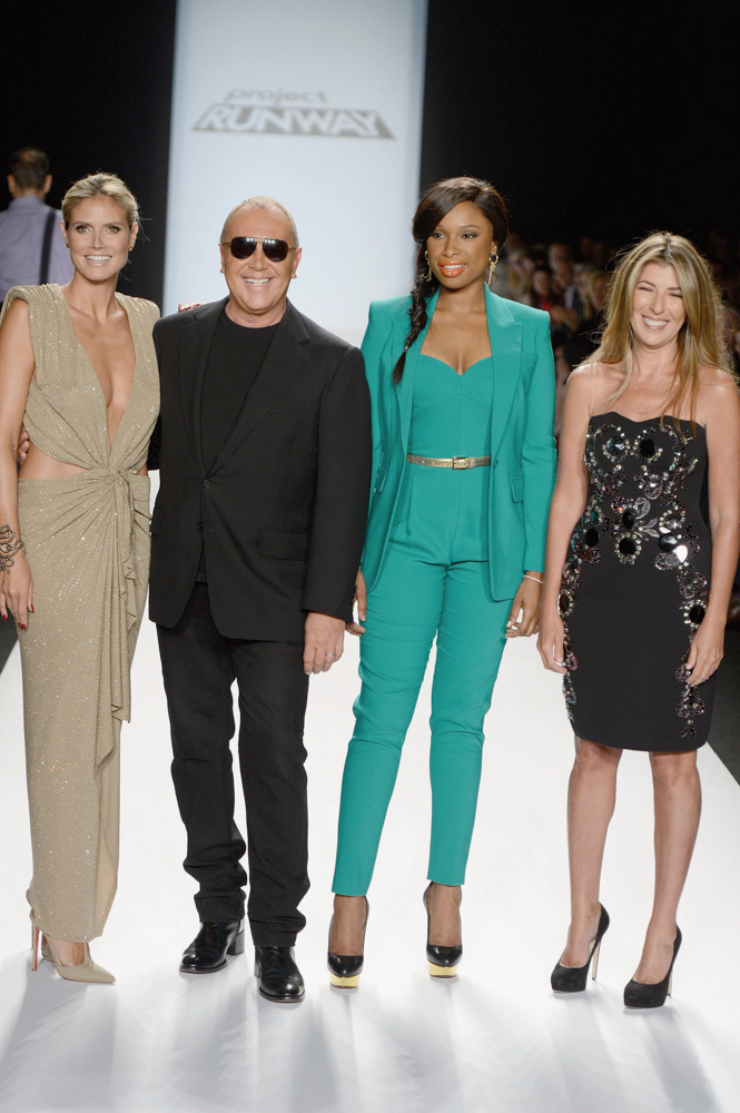 Project Runway team Heidi Klum, Michael Kors, Jennifer Hudson, and Nina Garcia on the runway of their final competition Photo by Frazer Harrison