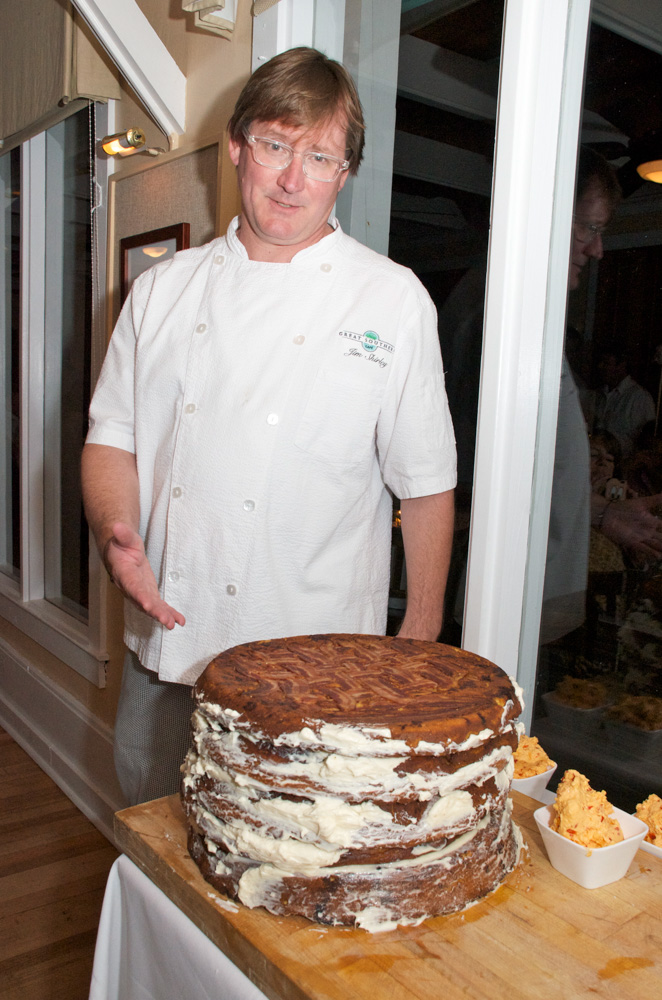 Chef Jim Shirley with his layered butter and bacon cornbread masterpiece at A Taste of Seaside