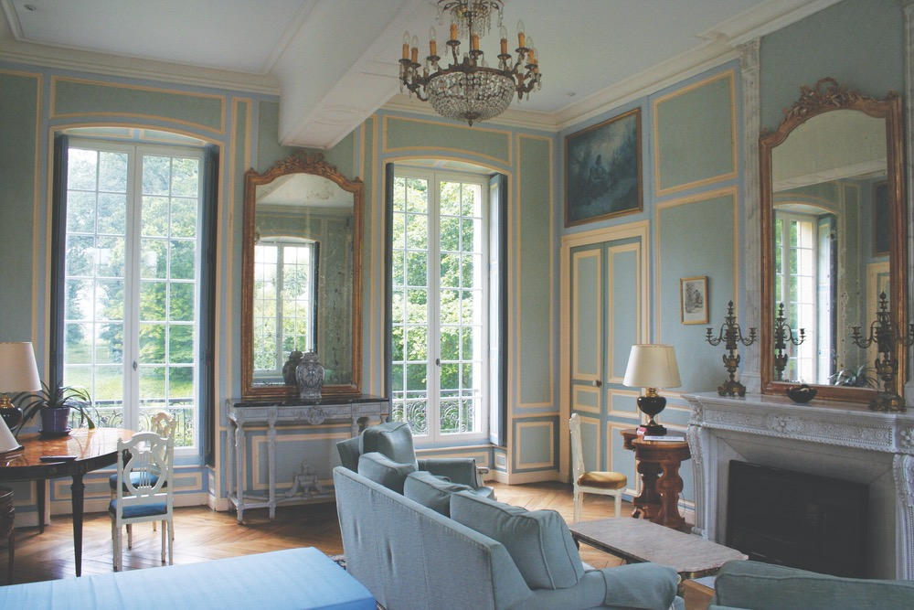 The charming and cozy interior of the three-hundred-year-old chateau, Domaine de Moresville