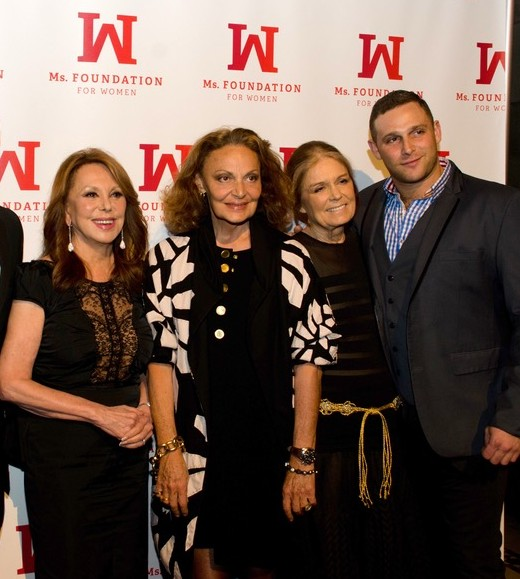 Marlo Thomas, Diane von Furstenberg, Gloria Steinem, and Chef Chris Nirschel attending Ms. Foundation's Gloria Awards