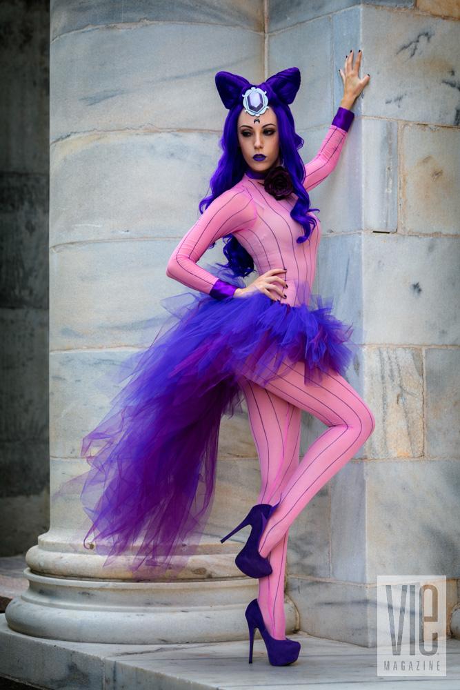 Purple and pink cat costume dragon con