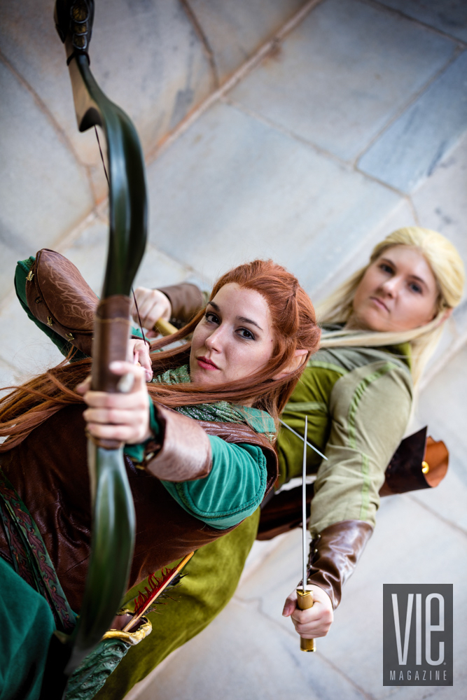 Girls dressed up as elves Tauriel and Legolas
