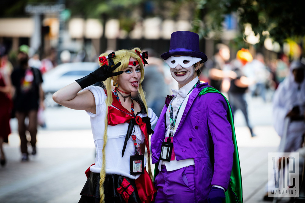Two people dressed up cosplay comic characters at Dragon Con