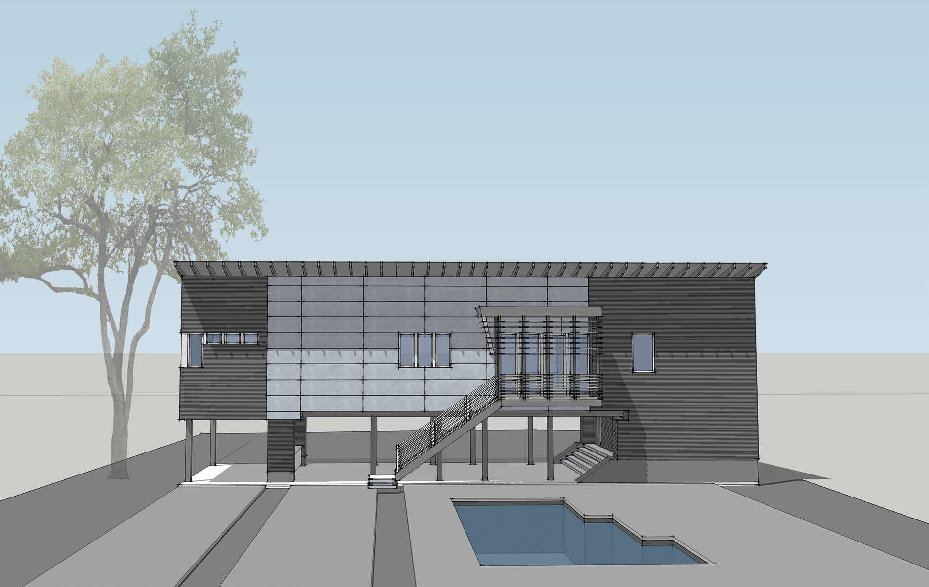 A CAD Illustration Of Mike And Angela Ragsdale's Upcoming Modern Minimalist Beach House