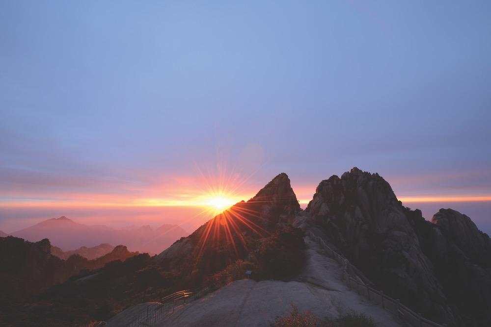 Huangshan Mountains China Red Cloud Peak Sunrise