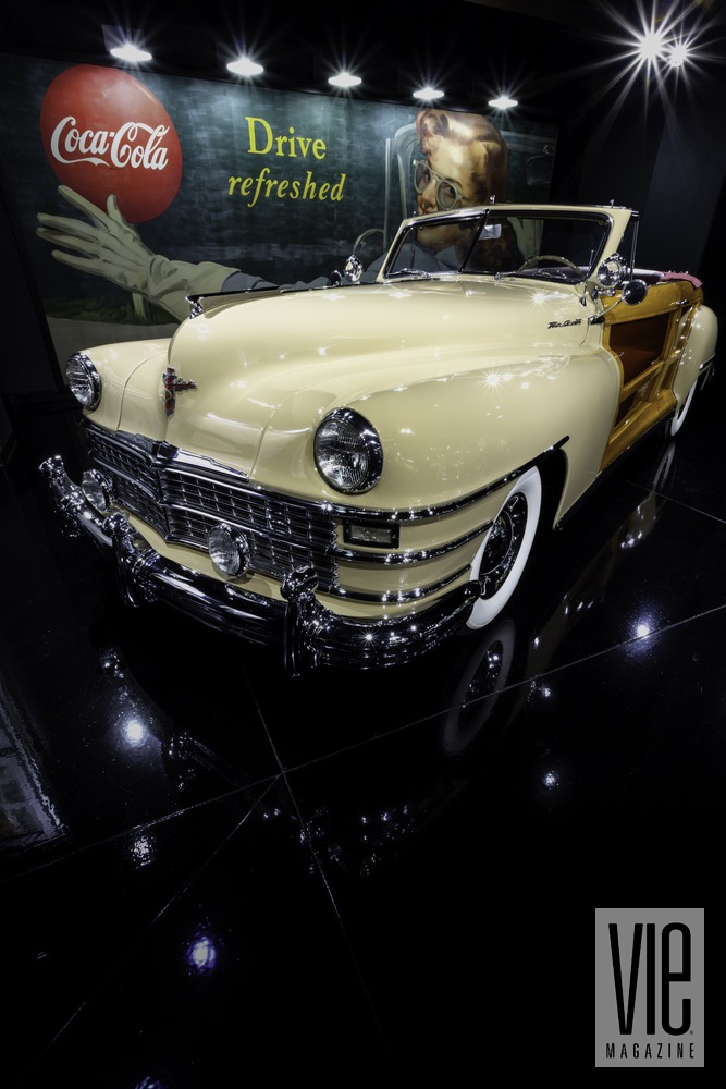 Profile View Of White Old Fashion Convertible Car At Colorado's Gateway Canyons Resort And Spa's Auto Museum