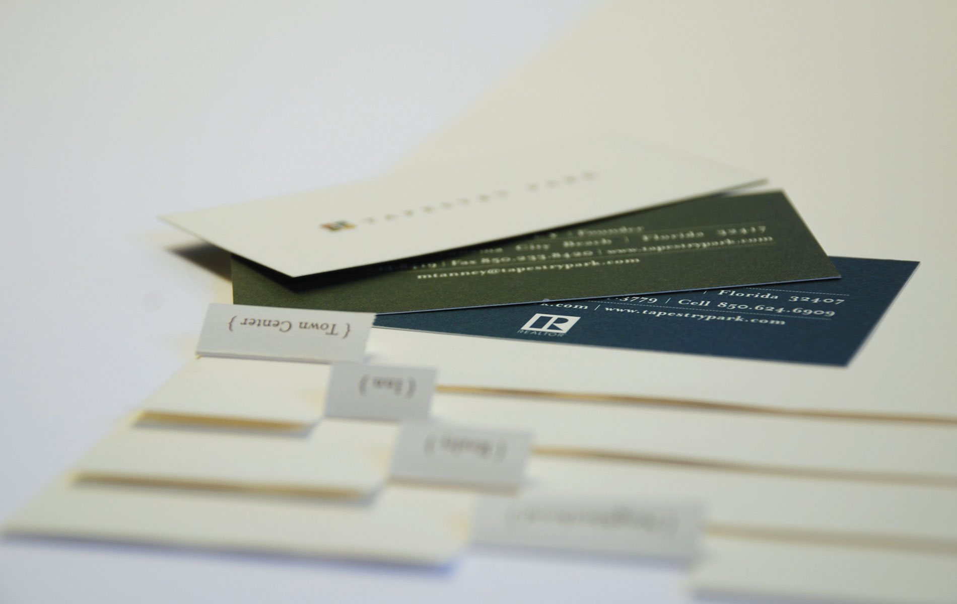 Tapestry Park business cards, branding