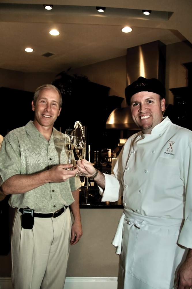Todd Vucovich, Chef Tom Gray (Bistro Aix) charity begins at home children's advocacy center