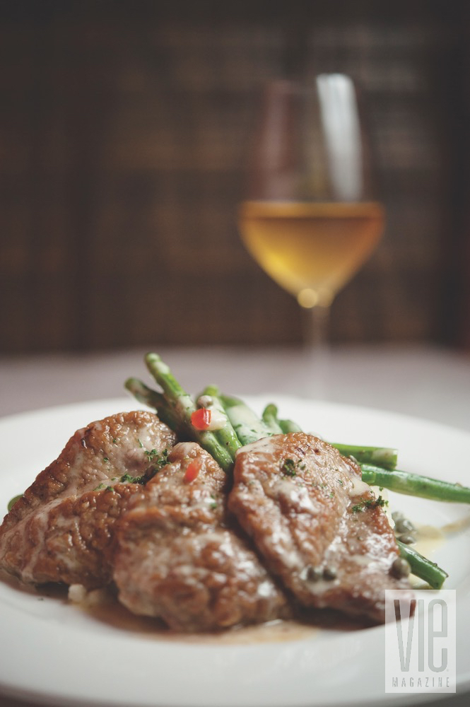 Plated Veal With Asparagus And Some Wine From Borago