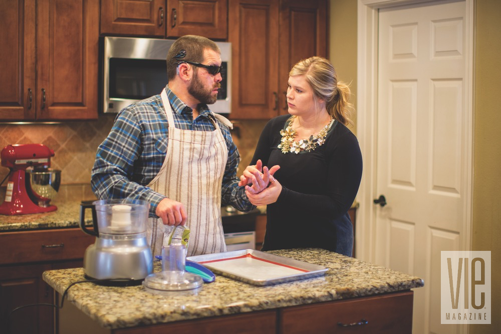 Aaron Hale With McKayla Tracy Working Together To Make Fudge